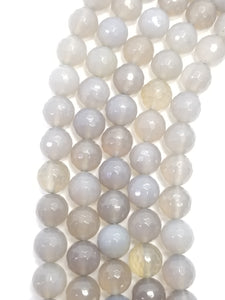 "Grey Chalcedony (Round)(Faceted)(16""Strand)"