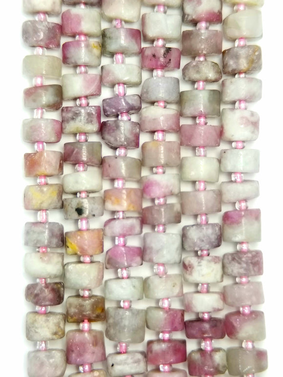 Pink Tourmaline in Quartz (Heishe)(Matte)(16