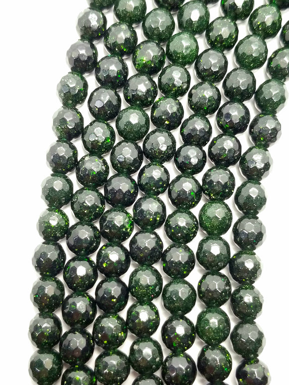 Green Goldstone (Round)(Faceted)(16