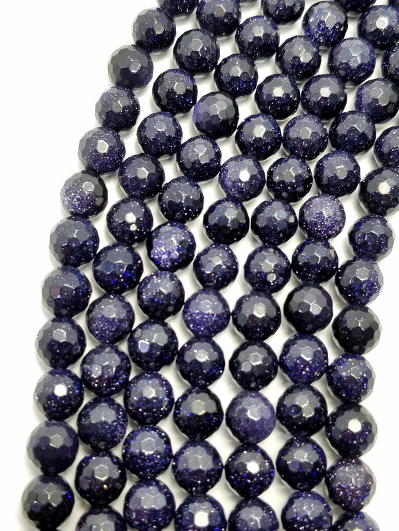 Blue Goldstone (Round)(Faceted)(16