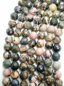 "Rhodonite (Round)(Faceted)(16""Strand)"