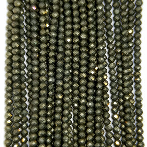 "Pyrite (Rondelle)(Micro-Faceted)(4x3mm)(15.50""Strand)"