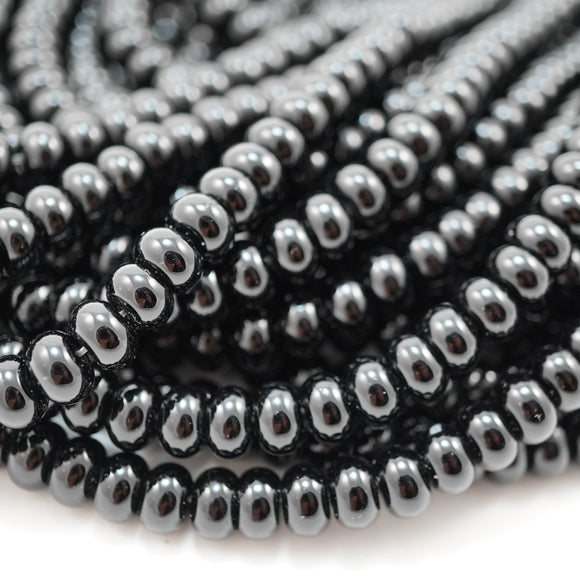 Black Onyx (Rondelle)(Smooth)(6mm)(8mm)(16