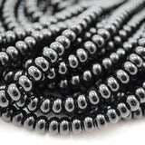 "Black Onyx (Rondelle)(Smooth)(6mm)(8mm)(16""Strand)"