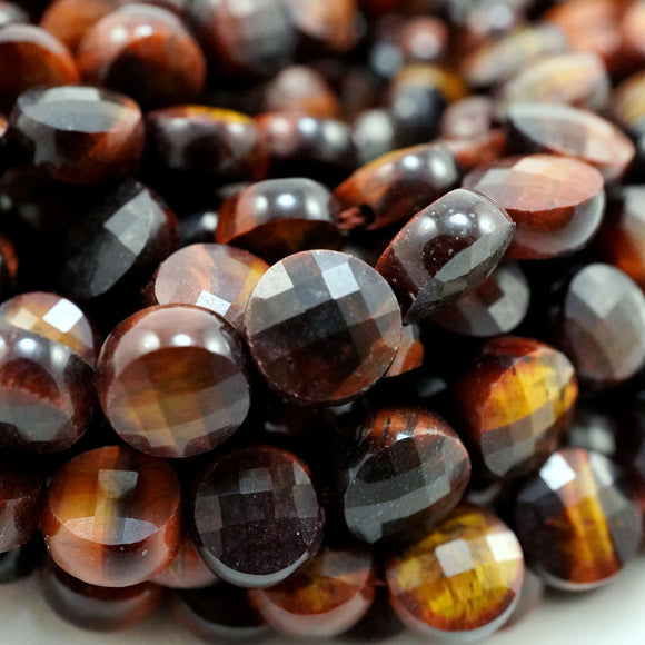 Red Tiger Eye (Coin)(Micro-Faceted)(6×4mm)(15