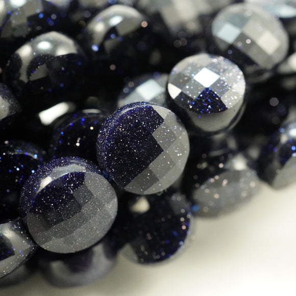 Blue Goldstone (Coin)(Micro-Faceted)(6×4mm)(15