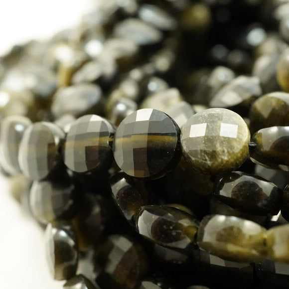 Golden Obsidian (Coin)(Micro-Faceted)(6×4mm)(15