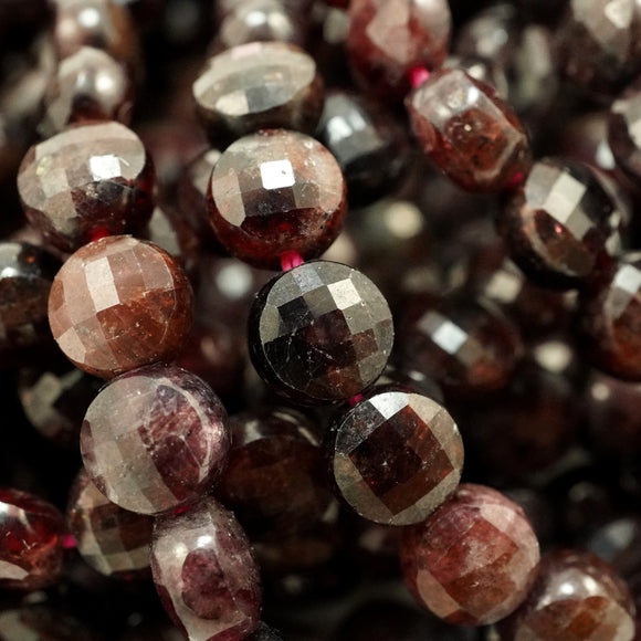 Red Garnet (Coin)(Micro-Faceted)(6×4mm)(15