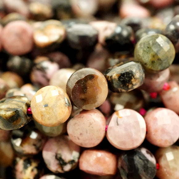 Rhodonite (Coin)(Micro-Faceted)(6×4mm)(15