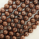 "Lava Stone (Antique Copper)(Electroplated)(Round)(6mm)(8mm)(10mm)(16""Strand)"