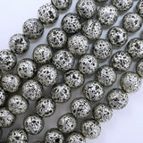 "Lava Stone (Antique Silver)(Electroplated)(Round)(6mm)(8mm)(10mm)(16""Strand)"