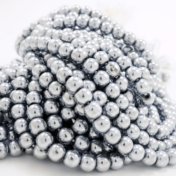 Hematite (Silver)(Electroplated)(Round)(Smooth)(2mm)(4mm)(6mm)(8mm)(15.50