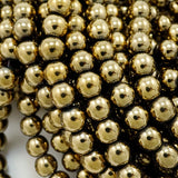 "Hematite (Brass)(Electroplated)(Round)(Smooth)(2mm)(4mm)(6mm)(8mm)(15.50""Strand)"