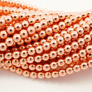 "Hematite (Copper)(Electroplated)(Round)(Smooth)(2mm)(4mm)(6mm)(15.50""Strand)"