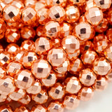 "Hematite (Copper)(Electroplated)(Round)(Faceted)(4mm)(6mm)(8mm)(15.50""Strand)"