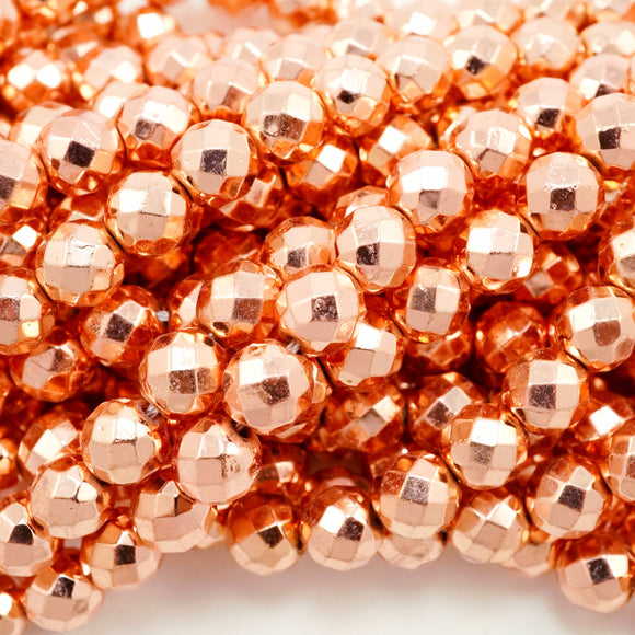 Hematite (Copper)(Electroplated)(Round)(Faceted)(4mm)(6mm)(8mm)(15.50