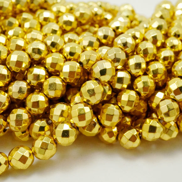 Hematite (Gold)(Electroplated)(Round)(Faceted)(4mm)(6mm)(8mm)(15.50