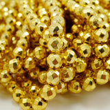"Hematite (Gold)(Electroplated)(Round)(Faceted)(4mm)(6mm)(8mm)(15.50""Strand)"