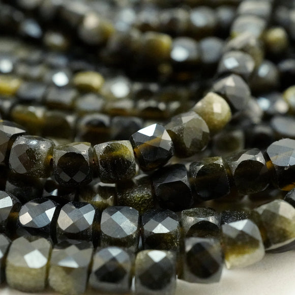 Golden Obsidian (Cube)(Micro-Faceted)(4mm)(15