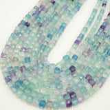 "Fluorite (Cube)(Micro-Faceted)(4mm)(15""Strand)"
