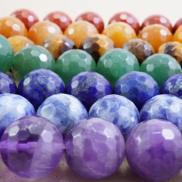 7 Chakra Stone Beads (Round)(Faceted)(4mm)(6mm)(8mm)(10mm)(16
