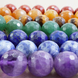 "7 Chakra Stone Beads (Round)(Faceted)(4mm)(6mm)(8mm)(10mm)(16""Strand)"