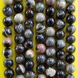 "Black Silver Leaf Jasper (Round)(Smooth)(8mm)(16""Strand)"