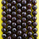 "Red Garnet (Round)(Faceted)(4mm)(6mm)(8mm)(10mm)(12mm)(16""Strand)"