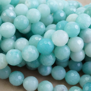 "Amazonite (Round)(Faceted)(4mm)(6mm)(8mm)(10mm)(16""Strand)"