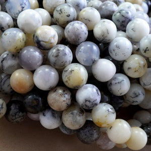 "White Dendritic Opal (Round)(Smooth)(4mm)(6mm)(8mm)(10mm)(16""Strand)"
