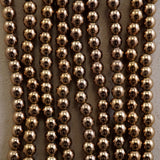 "Hematite (Bronze)(Electroplated)(Round)(Smooth)(2mm)(3mm)(4mm)(15.50""Strand)"
