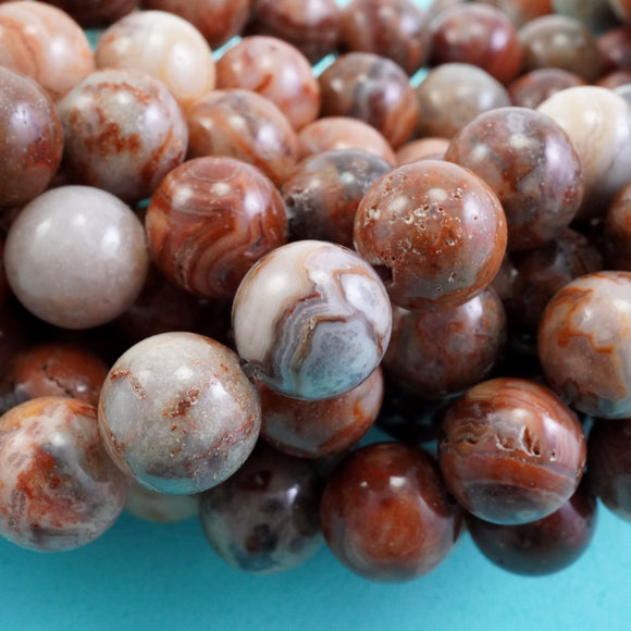 Red Lace Agate (Round)(Smooth)(6mm)(8mm)(10mm)(16