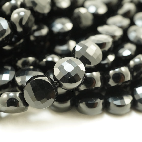 Black Onyx (Coin)(Micro-Faceted)(6×4mm)(15