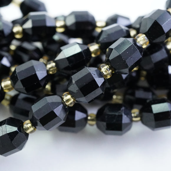 Black Tourmaline (Barrel)(Faceted)(8x7mm)(16