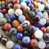 "Mix Gem Stones (Round)(Faceted)(4mm)(6mm)(8mm)(10mm)(16""Strand)"