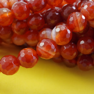 "Red Sardonyx (Round)(Faceted)(4mm)(6mm)(8mm)(10mm)(16""Strand)"