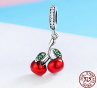 CookEas Sterling Silver Red Cherry Pendant