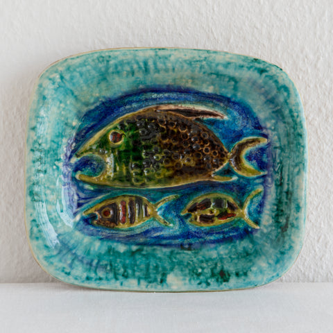 SCHRAMBERG SMF Colorful Fused Glass Stoneware Fish Tray / Bowl - Mollaris.com