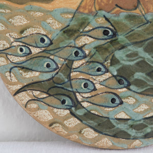 PALLE & MARGRETHE DYBDAHL Mermaid and Fishes in the Sea Round Ceramic Wall Tile - Mollaris.com