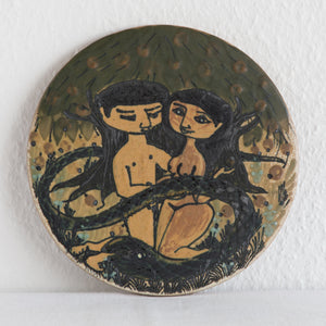 PALLE & MARGRETHE DYBDAHL Adam and Eve under The Tree of Knowledge Round Ceramic Wall Tile - Mollaris.com