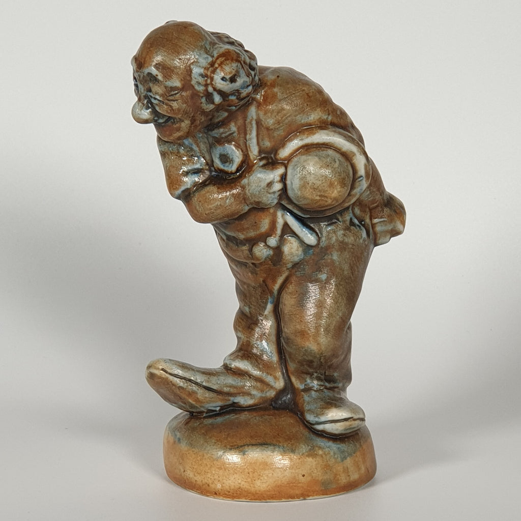 POUL HAUCH CARLSEN Brown Glazed Clown (Charlie Rivel) Stoneware Sculpture - Mollaris.com