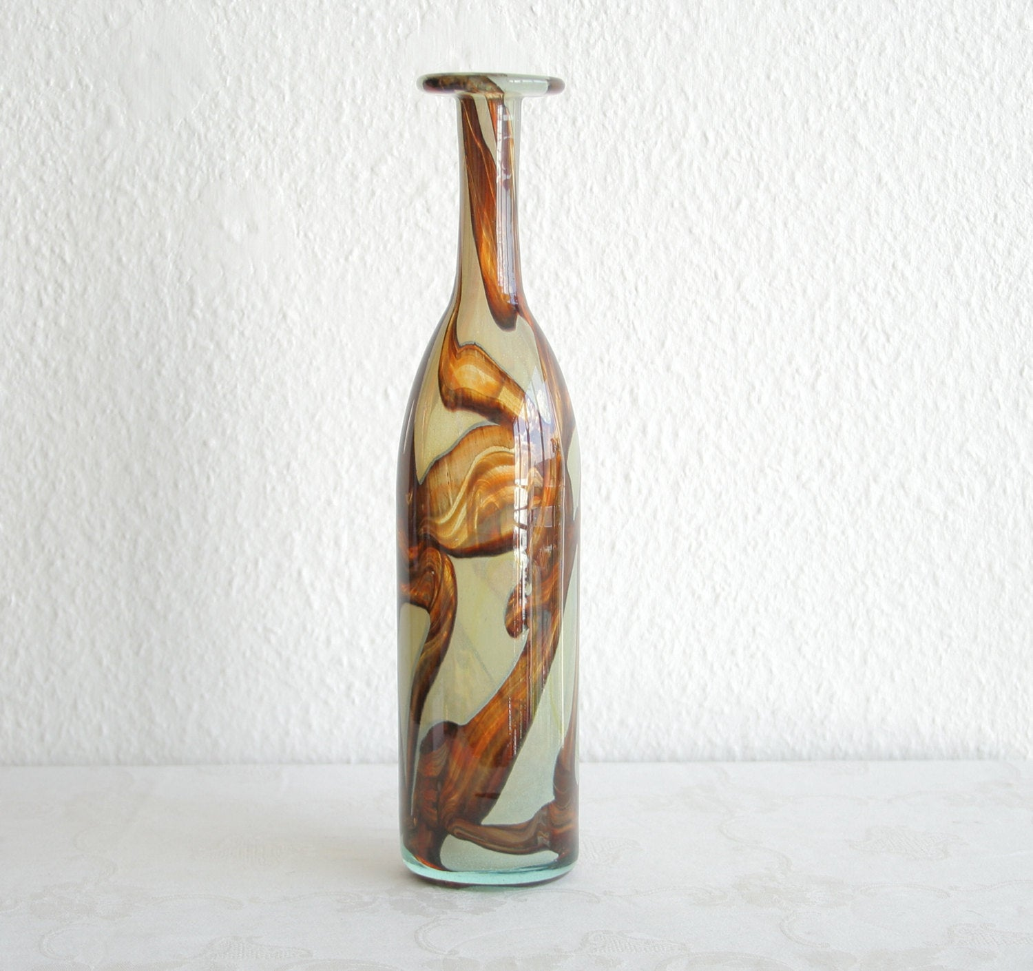 MICHAEL HARRIS Mdina Studio Tiger Pattern Glass Bottle Vase - Mollaris.com