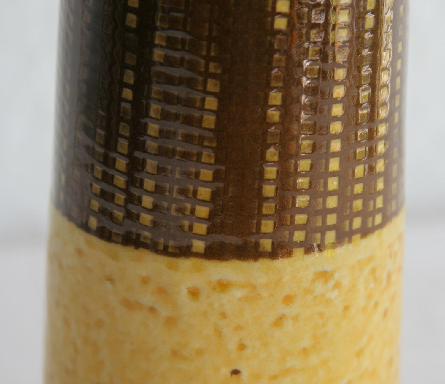 Upsala Ekeby INGRID ATTERBERG Yondel / Gondel Brown and Yellow Glazed Stoneware Vase - Mollaris.com