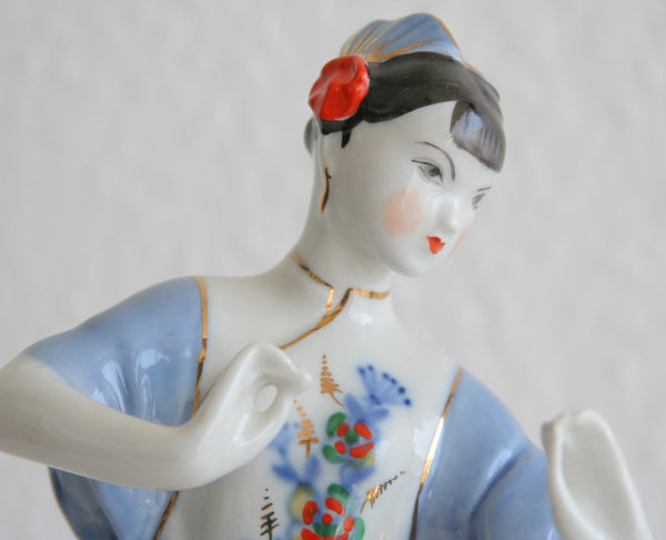 VERBILKI Decorated Dancing Chinese Girl Porcelain Sculpture - Mollaris.com