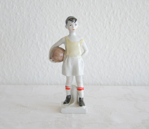 LOMONOSOV Boy Succor Player / Goal Keeper Porcelain Sculpture - Mollaris.com