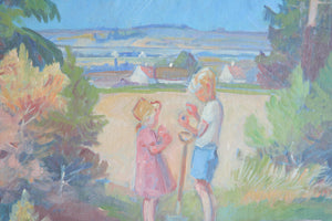 NIS STOUGAARD Children in a Field on Bornholm Painting - Mollaris.com