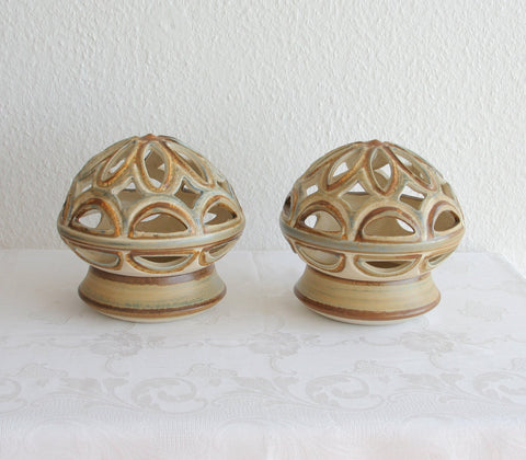 Pair of NOOMI BACKHAUSEN Søholm Openwork Ceramic Table Lamps - Mollaris.com