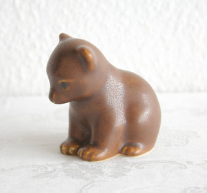 KNUD BASSE Brown Glazed Stoneware Bear Cub Figurine - Mollaris.com