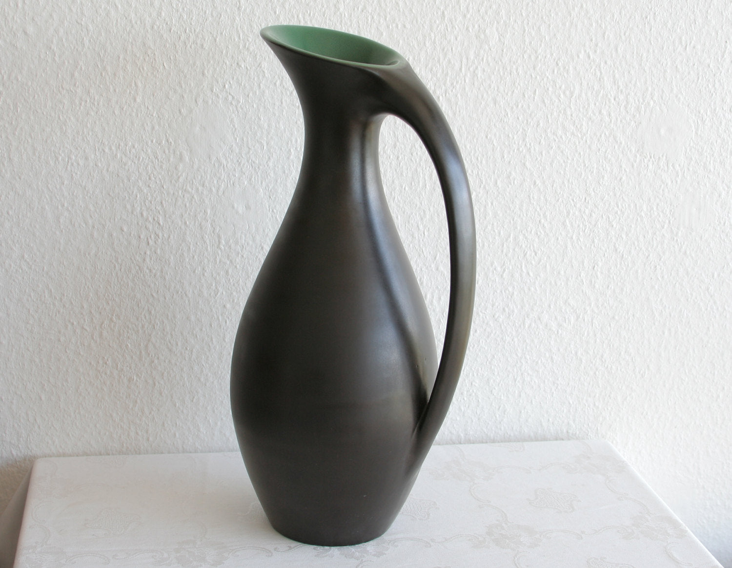 MØRKØV Monumental Black Green Glazed Ceramic Floor Vase - Mollaris.com