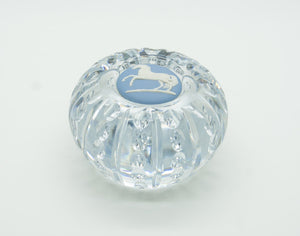 WEDGWOOD White Horse Blue Jasper Cut Crystal Paperweight - Mollaris.com